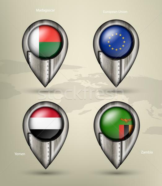 Metal Pokaż znacznik stali kraju Zdjęcia stock © Panaceadoll