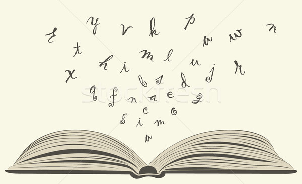 flying letters from old open book Stock photo © Panaceadoll