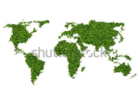 World map shape on green grass field background Stock photo © Panaceadoll