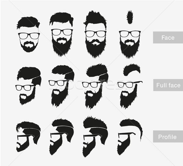 Hajstílusok szakáll bajusz visel szemüveg férfiak Stock fotó © Panaceadoll