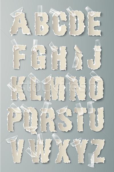 Vector ingesteld alfabet gescheurd papier transparant tape Stockfoto © Panaceadoll