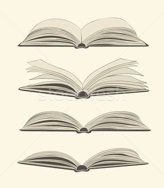 Stock photo: Set of vintage open books