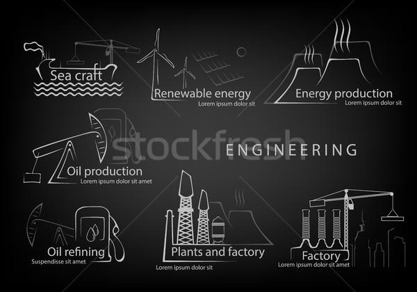 набор инженерных производства гражданство здании дизайна Сток-фото © Panaceadoll