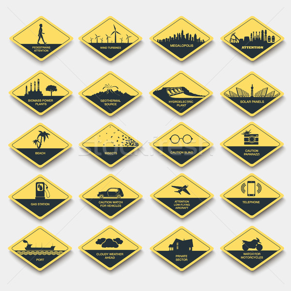 set of signs of attention, caution and danger. road signs yellow rhombus Stock photo © Panaceadoll