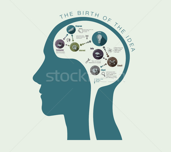 Születés ötletek illusztráció emberi fej üzlet Stock fotó © Panaceadoll