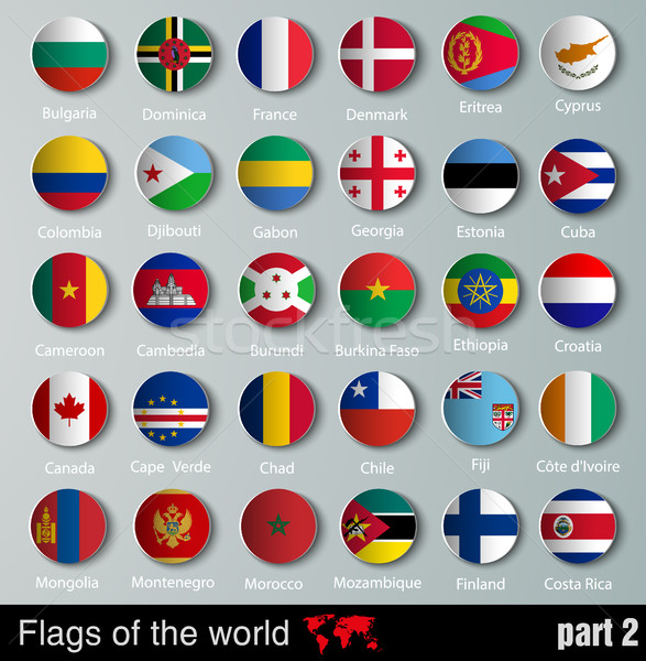 vector Flags of all countries with shadows Stock photo © Panaceadoll