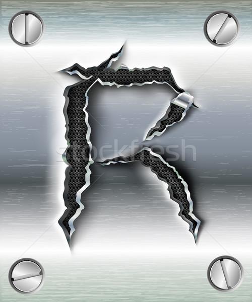 алфавит письма Torn металл тень дизайна Сток-фото © Panaceadoll