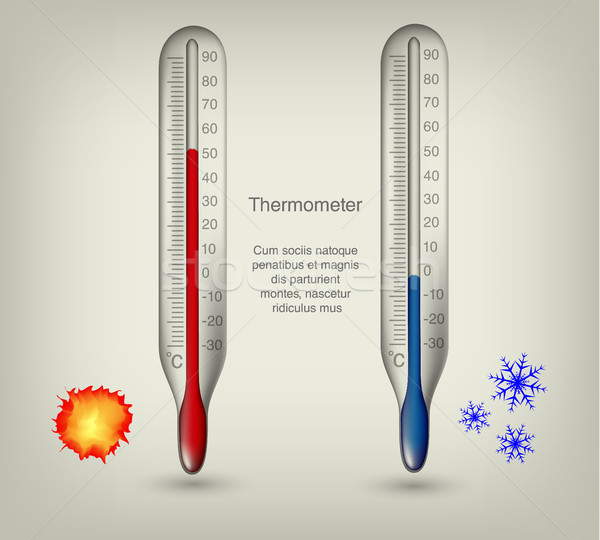 thermometer icons with hot and cold temperatures Stock photo © Panaceadoll