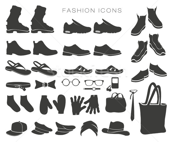 vector set of fashion icons and items of clothing silhouettes accessories Stock photo © Panaceadoll