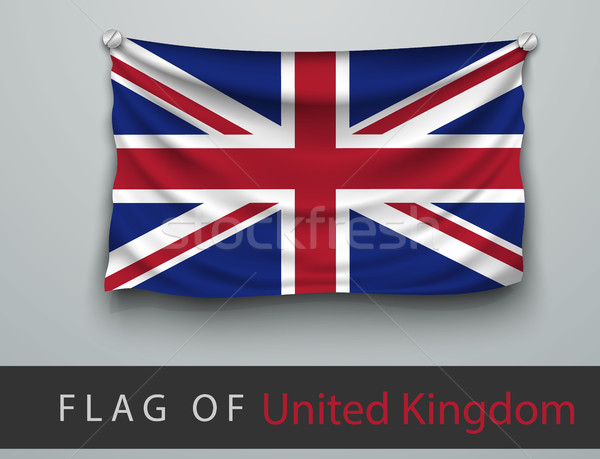 FLAG OF united kingdom battered, hung on the wall, screwed Stock photo © Panaceadoll
