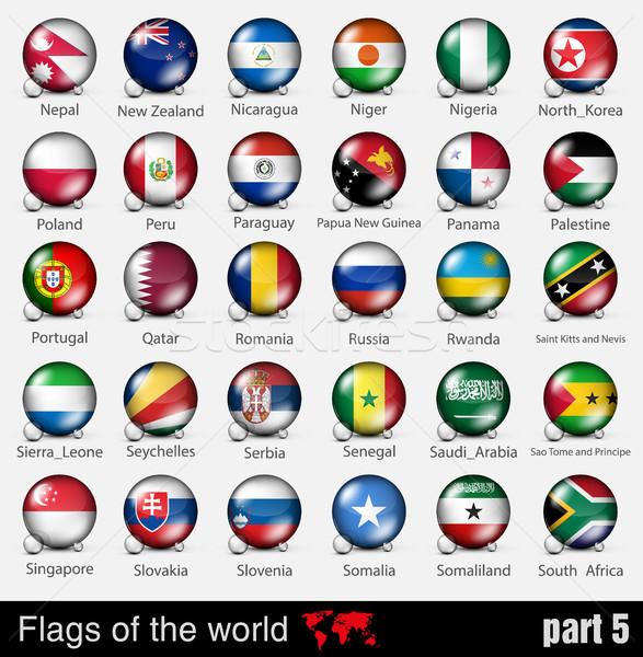 Bandeiras países 3d bola sombras projeto Foto stock © Panaceadoll