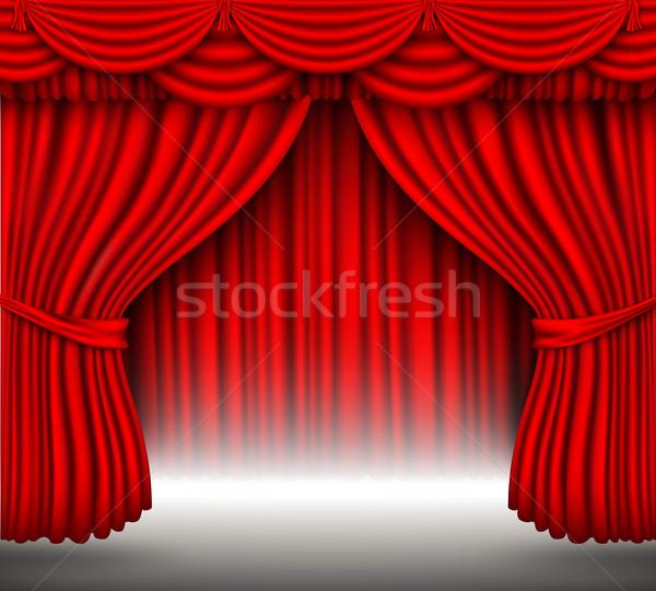 вектора красный шелковые занавес Тени фон Сток-фото © Panaceadoll