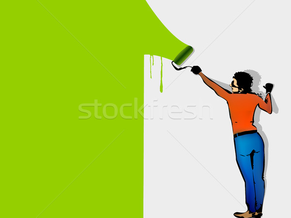 man paints the wall by roller Stock photo © Panaceadoll
