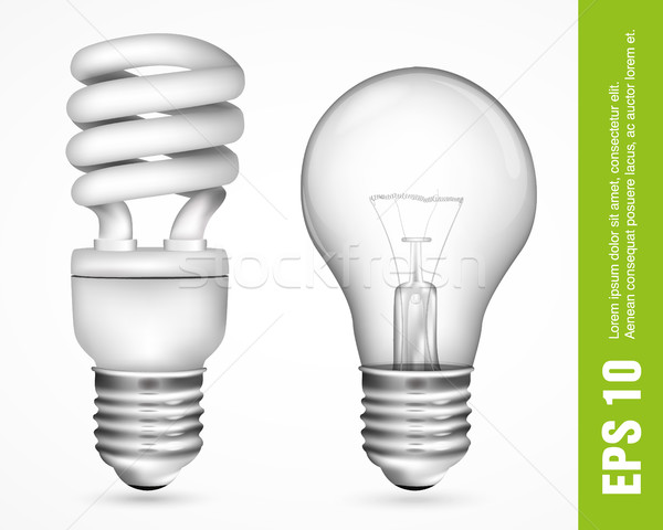 Incandescent and fluorescent energy saving light bulbs Stock photo © Panaceadoll