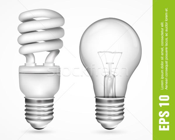Fluorescencyjny energii oszczędność żarówki świetle elektrycznej Zdjęcia stock © Panaceadoll