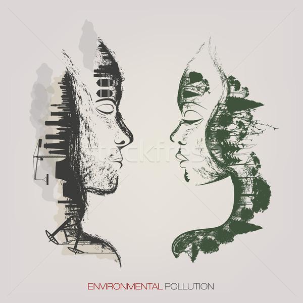 Artystyczny środowiskowy zanieczyszczenia fabryki charakter projektu Zdjęcia stock © Panaceadoll