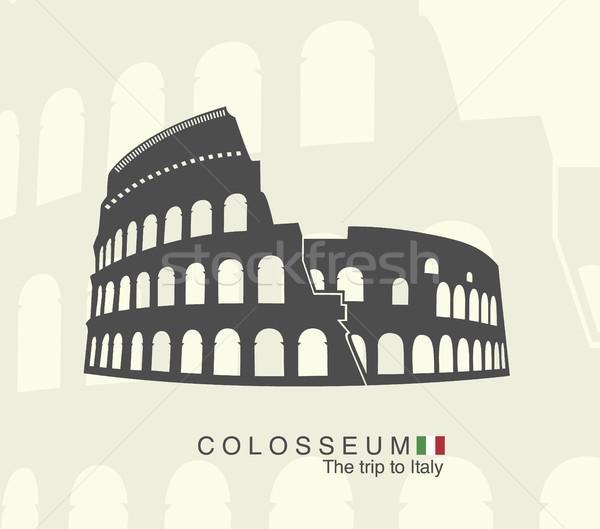 Ilustración romana coliseo aislado blanco edificio Foto stock © Panaceadoll