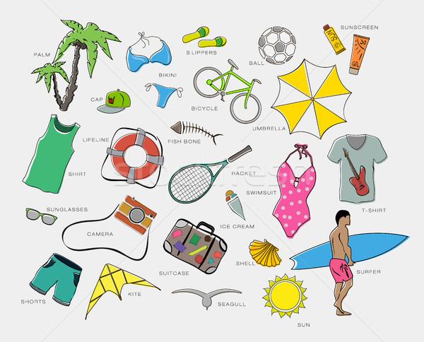 セット 服 エンターテイメント 旅行 ビーチ ツリー ストックフォト © Panaceadoll
