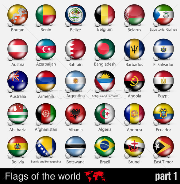 Flags of all countries in the 3d ball with shadows Stock photo © Panaceadoll