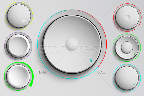 Vetor conjunto botões volume controlar música Foto stock © Panaceadoll