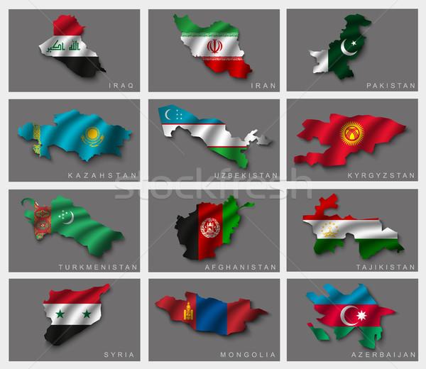 Illusztrációk világ zászlók utazás zászló Afrika Stock fotó © Panaceadoll