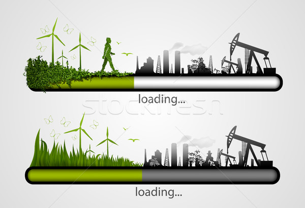 set Icon download from mills and factories against renewable energy Stock photo © Panaceadoll