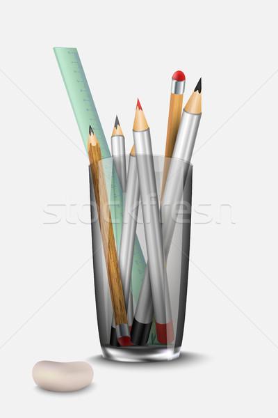 Irodaszer szett ceruza radír vonalzó üveg Stock fotó © Panaceadoll