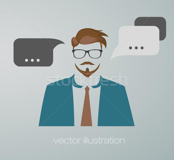 ビジネスマン ウェブのアイコン コンピュータ 建物 にログイン スーツ ストックフォト © Panaceadoll