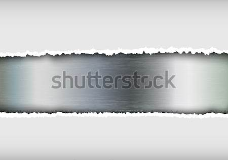 metallic background with torn paper and place for text Stock photo © Panaceadoll
