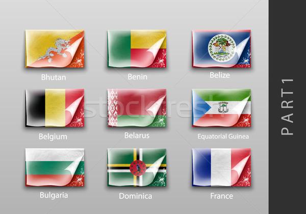 Vlaggen vorm schaduwen textuur achtergrond reizen Stockfoto © Panaceadoll