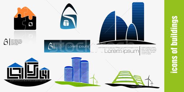 Ingesteld vector gebouwen ontwerp icon Stockfoto © Panaceadoll