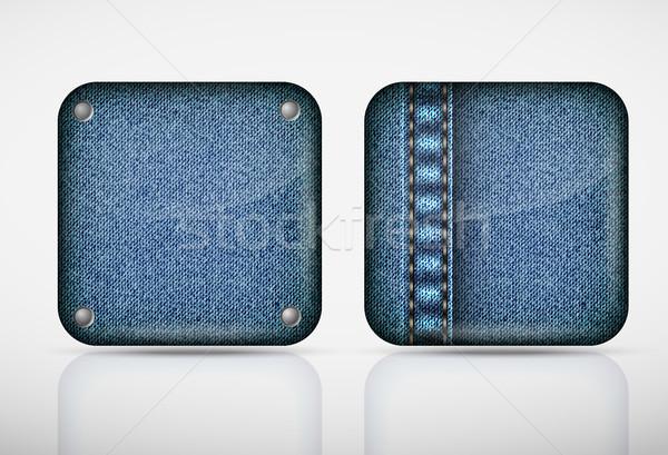 Denim toepassing iconen textuur jeans web Stockfoto © Panaceadoll