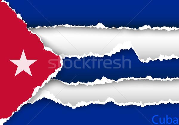 Terv zászló vidék szakadt papírok árnyékok Stock fotó © Panaceadoll
