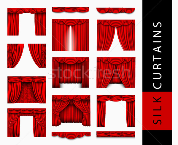 vector set of red silk curtains with light and shadows of the open and closed Stock photo © Panaceadoll