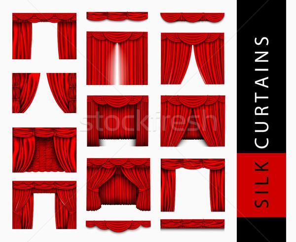 Vector ingesteld Rood zijde gordijnen licht Stockfoto © Panaceadoll
