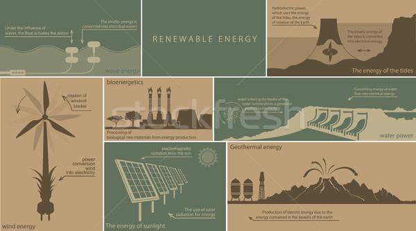 Energii ze źródeł odnawialnych ziemi wody wiatr ognia Zdjęcia stock © Panaceadoll