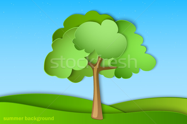 green tree with summer background paper Stock photo © Panaceadoll