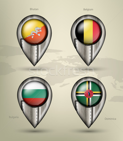 metal map marker steel country with glare and shadows Stock photo © Panaceadoll