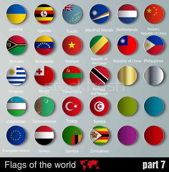 Vektor zászlók összes országok árnyékok terv Stock fotó © Panaceadoll