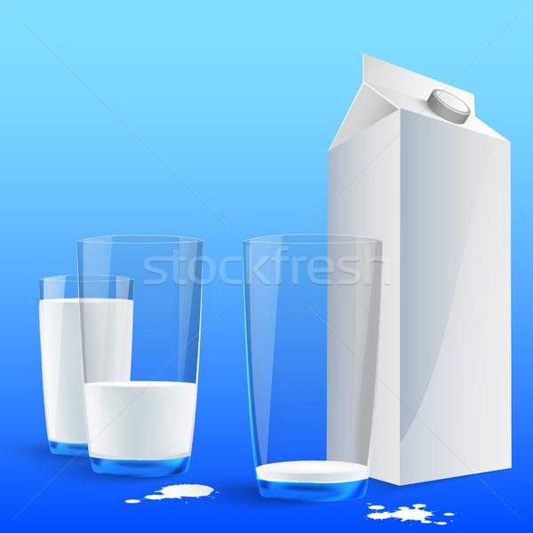 ミルク ガラス 夏 牛 青 ストックフォト © Panaceadoll