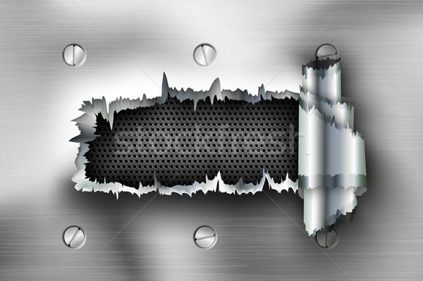 Gat metaal ontwerp achtergrond explosie bullet Stockfoto © Panaceadoll