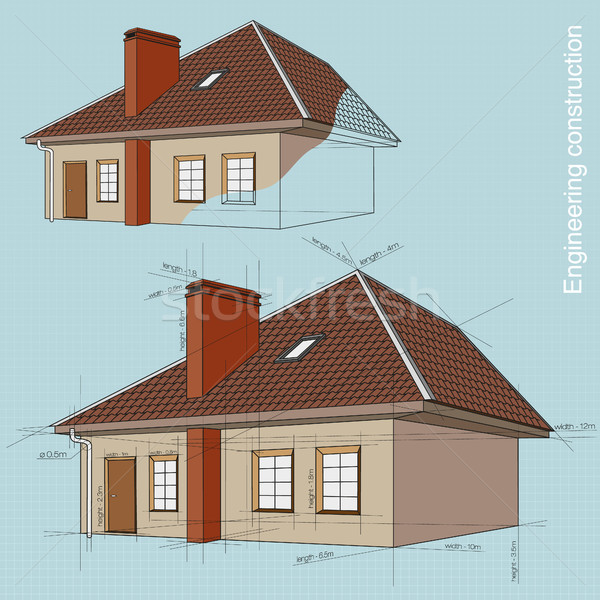 Engineering construction of buildings. drawings Stock photo © Panaceadoll