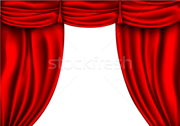 Vector Rood zijde gordijn schaduwen achtergrond Stockfoto © Panaceadoll