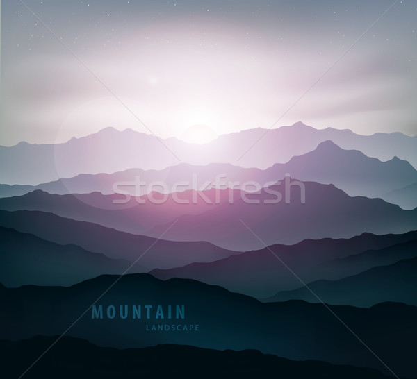 dark blue mountain landscape with fog and a sunrise and sunset Stock photo © Panaceadoll