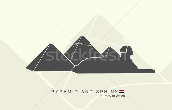 shapes of the pyramids of Giza and the Sphinx Stock photo © Panaceadoll