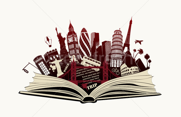 open book with landmarks to world Stock photo © Panaceadoll