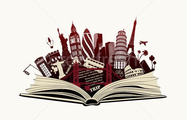 Open boek wereld boek gebouw stad kaart Stockfoto © Panaceadoll