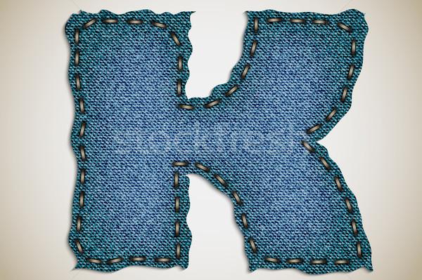 ストックフォト: デニム · 手紙 · アルファベット · テクスチャ · ジーンズ · ベクトル