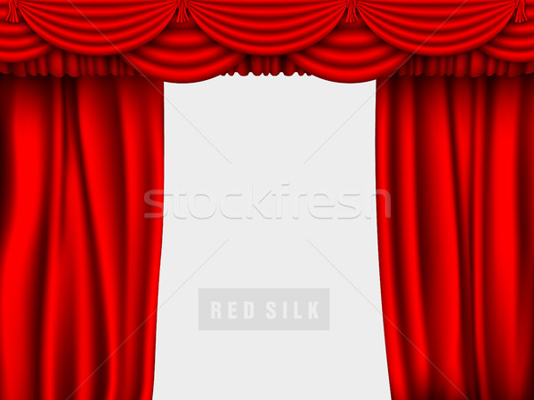 Vektor piros selyem függöny árnyékok háttér Stock fotó © Panaceadoll