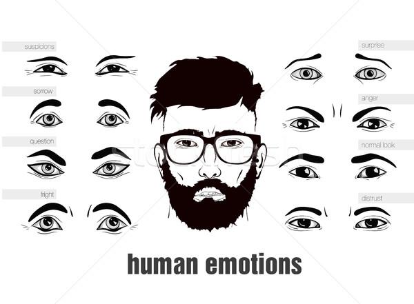 Beschrijving menselijke emoties ogen vrouw boek Stockfoto © Panaceadoll